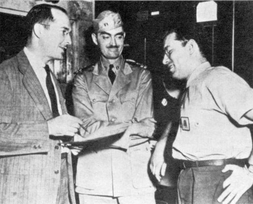 Robert Heinlein, L. Sprague de Camp, and Isaac Asimov, Philadelphia Navy Yard, 1944.